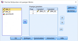 SPSS DIalog Dependent Sample T-Test