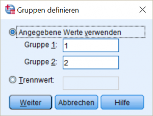 SPSS Definition Gruppen Independent sample t-test