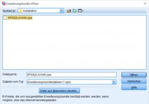 Installation SPSS-Ergänzun SPSS2LAVAAN - Auswahl der Datei