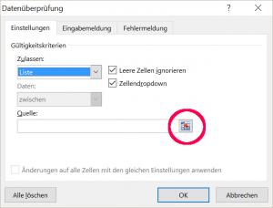 Dateneingabe mit Excel - Definition von gültigen Labeln
