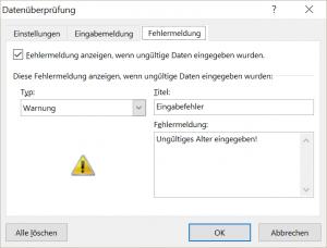 Dateneingabe mit Excel - Festlegen einer spezifischen Fehlermeldung