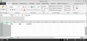 Dateneingabe mit Excel - Markieren der Spalte