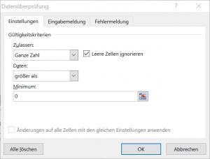 Dateneingabe mit Excel - Optionen für Versuchspersonennummer
